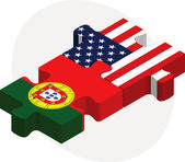 Portuguese and USA Flags in puzzle isolated on white background — Stock Vector