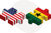 USA and Ghanaian Flags in puzzle isolated on white background — Vector de stock