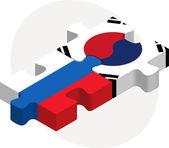 России и Южной Кореи флаги в головоломки изолированные на белом backg — Cтоковый вектор