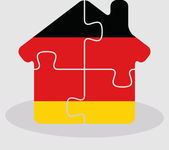 House home icon with German flag in puzzle — Stock Vector
