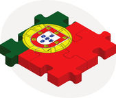 Portuguese Flag in puzzle — Stock Vector