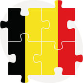 Belgian Flag in puzzle isolated on white background — Cтоковый вектор