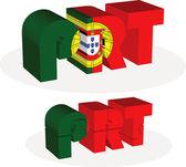 Drapeau portugais en puzzle isolé sur fond blanc — Vecteur