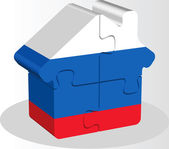 House home icon with Russian flag in puzzle isolated on white ba — Stock Vector