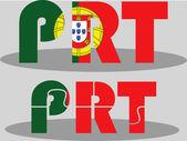 Bandera portuguesa en rompecabezas aislado sobre fondo blanco — Vector de stock