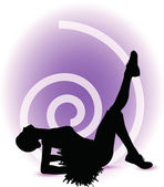 Funky cheerleader silhouette — Stock Vector