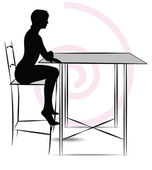 Woman sitting at the table — Stock Vector