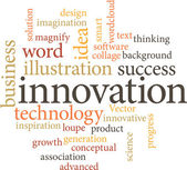 Illustration of the word innovation in word clouds — Stock Vector