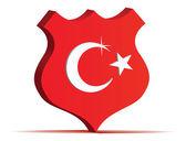 Turkish flag in highway road sign — Vector de stock