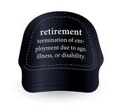 Dictionary word of retirement on baseball cap — Stock Vector