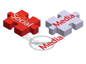 Puzzle de medios sociales — Vector de stock