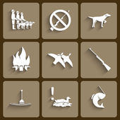 Vector fishing and hunting  icons — Stock Vector