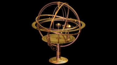 3D model of Armillary Sphere with matte. Loopable.