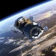 "Spacecraft ""Progress"" deploys solar panels. — Stock Video"