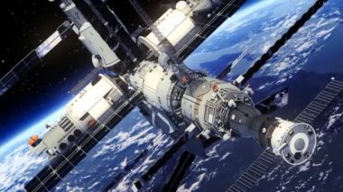 Space Station Orbiting Earth. — Stock Video
