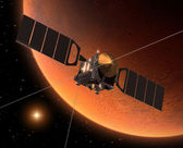 "Spacecraft ""Mars Express"" Orbiting Mars. — Stock Photo"