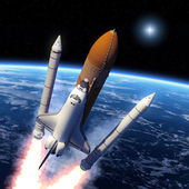Space Shuttle Solid Rocket Boosters Separation. — Stock Photo