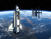 Space Station And Space Shuttle. — Stock fotografie