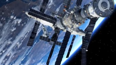 Space Shuttle And Space Station Orbiting Earth. — Stock Video