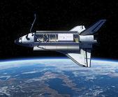Space Shuttle Orbiting Earth. — Stock Photo