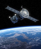 "Spacecraft ""Soyuz"" Orbiting Earth. — Stock Photo"
