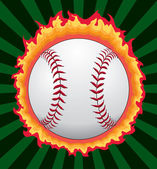 Baseball With Flames — Stock Vector