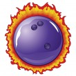 Bowling Ball With Flames — Stock Vector
