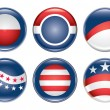 Stock Vector: Campaign Buttons Blank