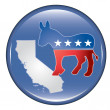 Democrat California Button — Stock vektor