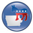 Democrat Iowa Button - Stock Vector