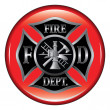 Fire Department Maltese Cross Button — Stock Vector