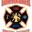 Firefighter First In Design is an illustration of a flaming firefighter cross with symbols for firefighting and rescue services — Stock Vector #25858729