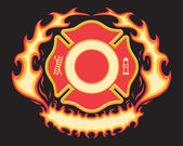 Firefighter Cross Symbol with Flaming Banner is a six spot color vector illustration on black background. Design elements are layered for easy editing and separating. — Vector de stock