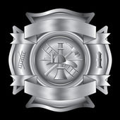 Firefighter Cross Silver is an illustration of a firefighter Maltese cross in silver with fireman tools including axe, hook, ladder, hydrant, nozzle and firefighters helmet. — Stock Vector