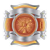 Firefighter Cross with Ribbons is an illustration of a firefighter Maltese cross made of gemstone with silver ribbons at the top and bottom. — Vector de stock