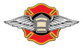 Firefighter Memorial Design illustration of a firefighters badge or shield — Vetorial Stock