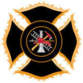 Fire Department or Firefighters Maltese Cross Symbol — Stock Vector