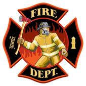 Firefighter Inside Maltese Cross Symbol — Stock Vector