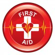 First Aid Heart Health Button — Stock Vector