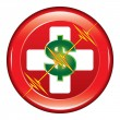 First Aid Medical Cost Button — Stock Vector