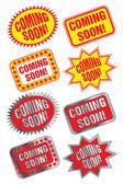 Coming Soon Labels — Stock Vector