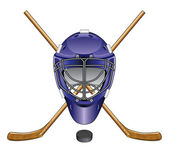 Ice Hockey Goalie Mask Sticks and Puck — Stock Vector