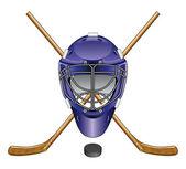 Ice Hockey Goalie Mask Sticks and Puck — Stock Vector