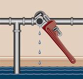Leaking Pipe Repair — Stock Vector