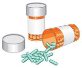 Pill Bottles-Prescription Drug — Stock Vector