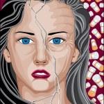 Prescription Drug Addicted Woman — Stock Vector #38248283
