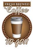 Coffee Fresh Brewed To Go — Stok Vektör