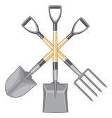 Shovel Spade and Forked Spade Digging Tools — Stock Vector