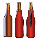 Beer Bottle With Koozie — Stock Vector