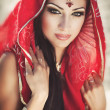 Beautiful indian woman bride in sari dancing bellydance. Arabian bellydancer in bollywood dance — Stock Photo